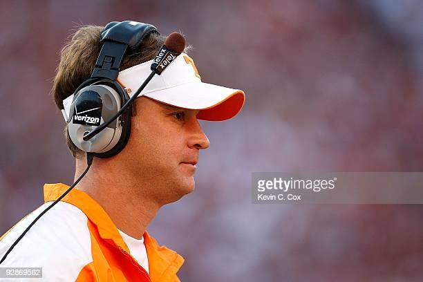 Head coach Lane Kiffin of the Tennessee Volunteers against the Alabama Crimson Tide at BryantDenny Stadium on October 24 2009 in Tuscaloosa Alabama