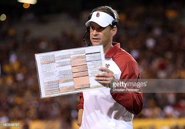Head coach Lane Kiffin of the USC Trojans during the college football game against the Arizona State Sun Devils at Sun Devil Stadium on September 28...