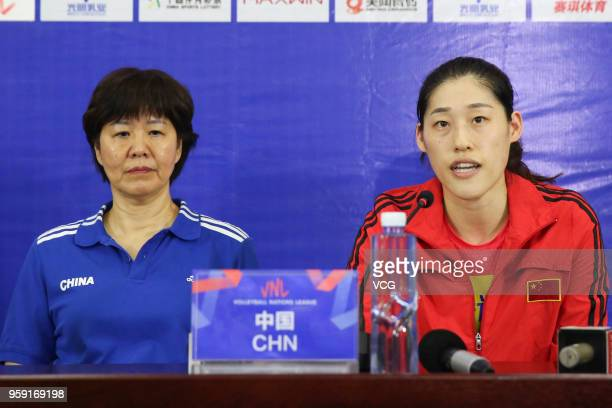 Head coach Lang Ping of China and her player Xiaotong Liu attend a press conference after winning Belgium during the FIVB Volleyball Nations League...