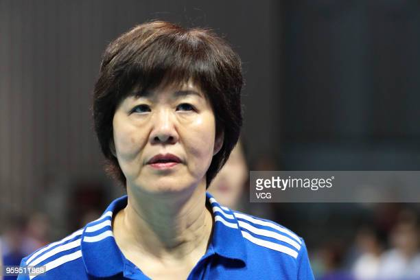 Head coach Lang Ping of China looks on against South Korea during the FIVB Volleyball Nations League 2018 at Beilun Gymnasium on May 17 2018 in...