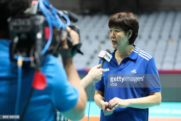 Head coach Lang Ping of China speaks ti the media after winning Belgium during the FIVB Volleyball Nations League 2018 at Beilun Gymnasium on May 16...