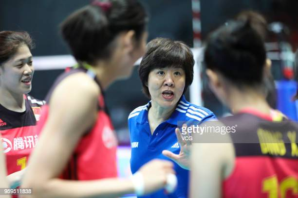 Head coach Lang Ping of China speaks to her players against South Korea during the FIVB Volleyball Nations League 2018 at Beilun Gymnasium on May 17...