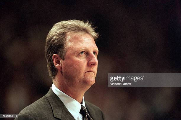 Head coach Larry Bird of the Indiana Pacers looks on during the game against the New York Knicks at Market Square Arena on June 1 1999 in...
