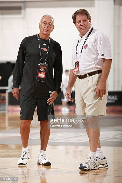 Head coach Larry Brown and assistant coach Dave Hanners of the Charlotte Bobcats talk on the court prior to the game against the New Orleans Hornets...