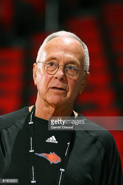 Head coach Larry Brown of the Charlotte Bobcats watches his players in action against the New Orleans Hornets during NBA Summer League presented by...