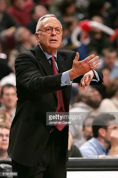 Head coach Larry Brown of the Detroit Pistons signals to his team during a game against the Chicago Bulls on January 3, 2005 at the United Center in...
