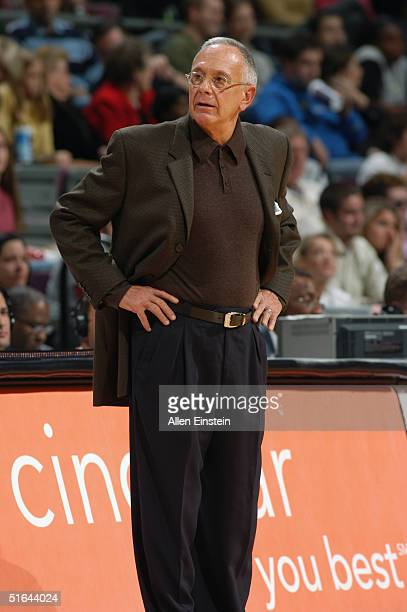 Head coach Larry brown of the Detroit Pistons stands on the court during the preseason game with the Utah Jazz at The Palace of Auburn Hills on...