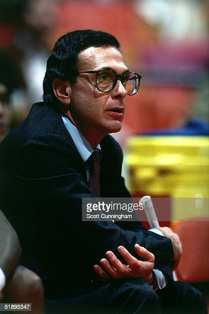 Head coach Larry Brown of the New Jersey Nets watches from bench against the Atlanta Hawks during an NBA game at the Omni in Atlanta GA 1982 NOTE TO...