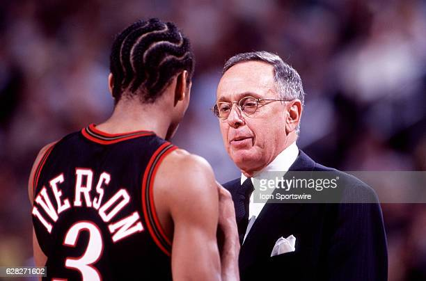 Head coach Larry Brown of the Philadelphia 76ers talks with Allen Iverson of the Sixers during a Sixers game versus the Phoenix Suns at America West...