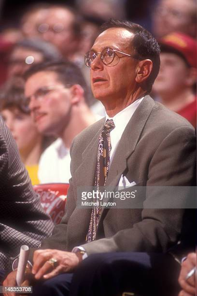 Head coach Larry Brown of the San Antonio Spurs looks on during a basketball game against the Washington Bullets at the Capitol Centre on Deember 30...