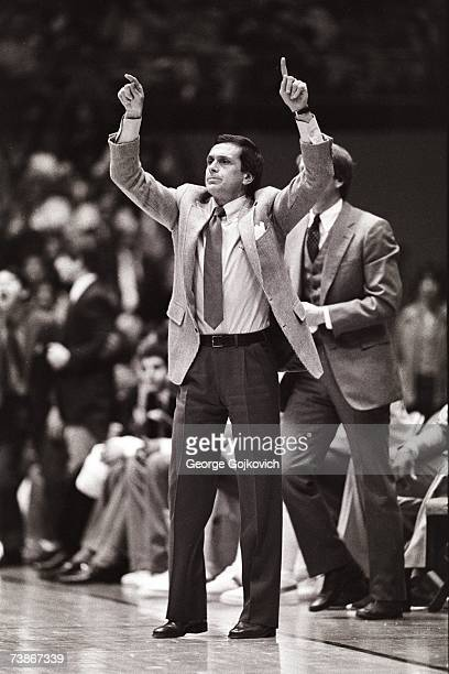 Head coach Larry Brown of the UCLA Bruins signals from the sideline during a college basketball game at Pauley Pavilion circa 1980 in Los Angeles...