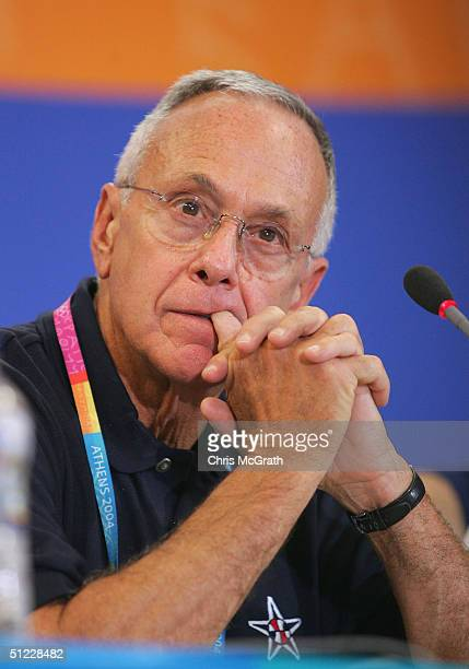 Head coach Larry Brown of United States has a press conference after losing to Argentina in the men's basketball semifinal game on August 27 2004...