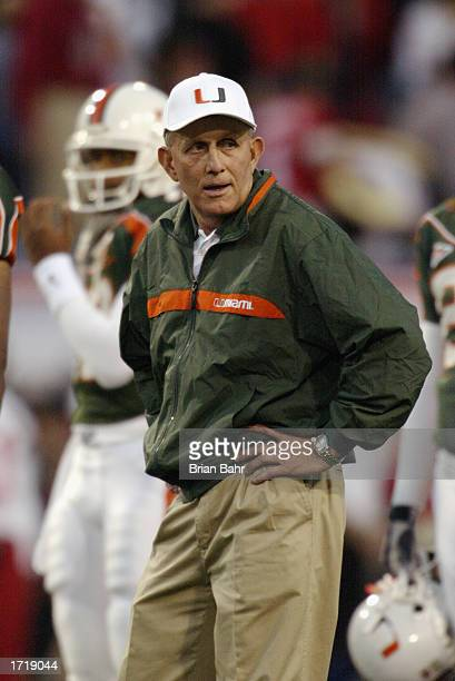 Head coach Larry Coker of the University of Miami Hurricanes stands on the sidelines during the BCS Championship game against the Ohio State Buckeyes...