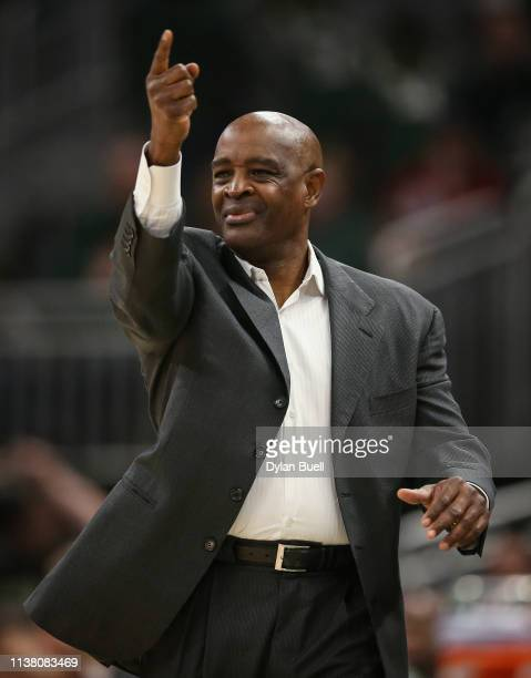 Head coach Larry Drew of the Cleveland Cavaliers calls out instructions in the first quarter against the Milwaukee Bucks at the Fiserv Forum on March...