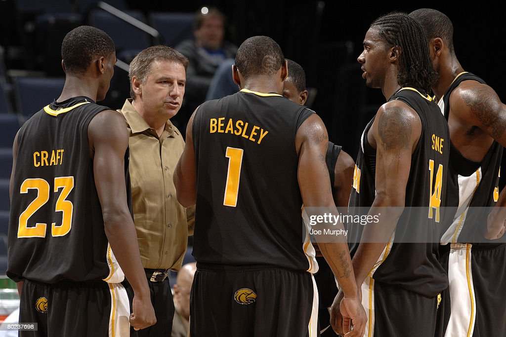 Head coach Larry Eustachy of Southern Miss talks to his players during a game against the UCF Knights during the quarterfinals of the Conference USA Basketball Tournament at FedExForum on March 13, 2008 in Memphis, Tennessee. Southern Miss beat UCF