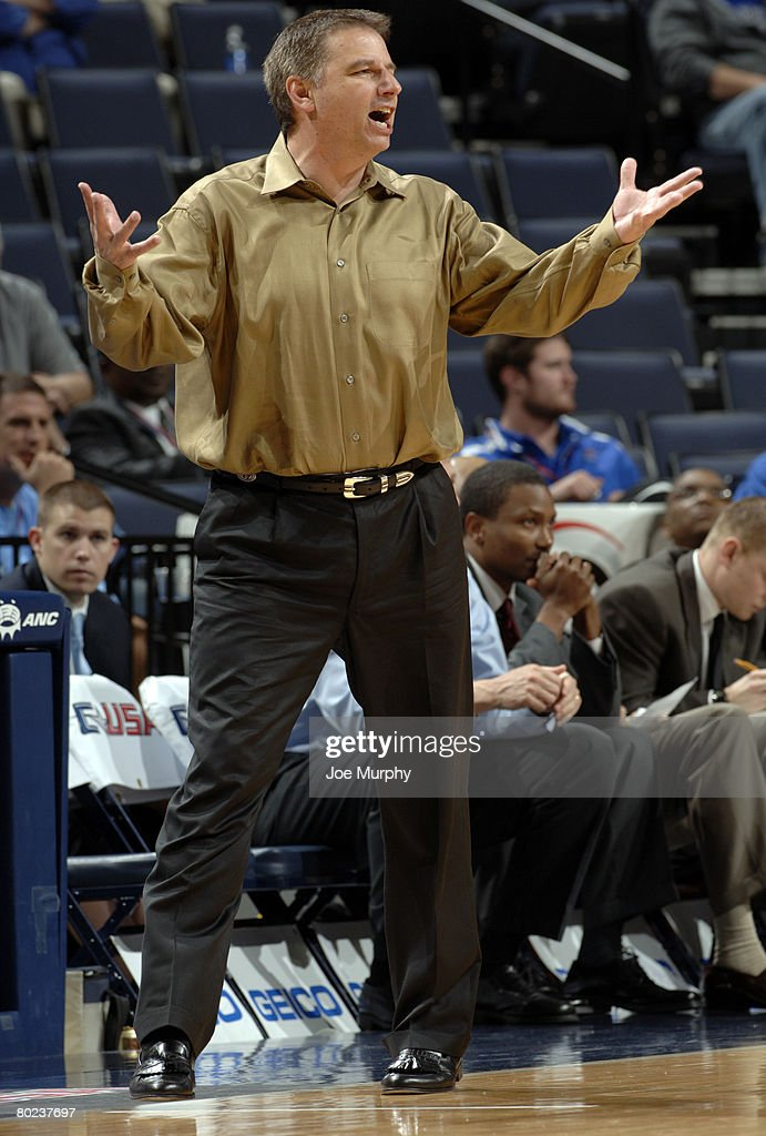 Head coach Larry Eustachy of the Southern Miss Golden Eagles reacts to a call against the UCF Knights during the quarterfinals of the Conference USA Basketball Tournament at FedExForum on March 13, 2008 in Memphis, Tennessee. Southern Miss beat UCF