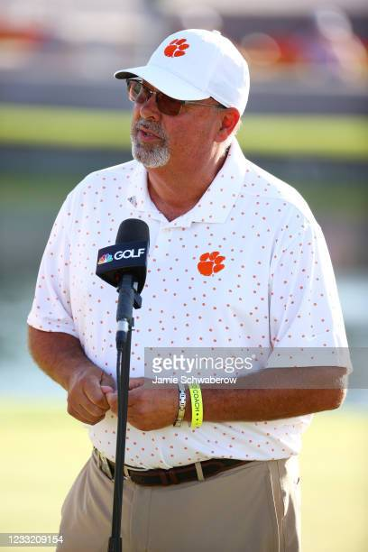 Head Coach Larry Penley of the Clemson Tigers speaks after his player, Turk Pettit won the individual national title during the Division I Mens Golf...