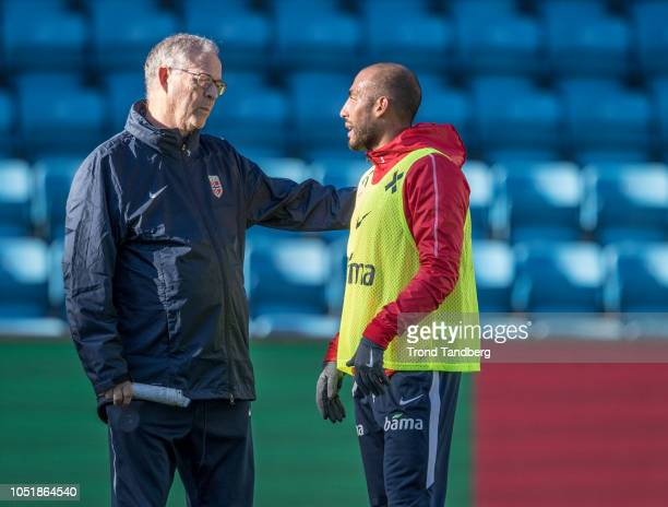 Head Coach Lars Lagerback and Haitam Aleesami of Norway during training before the UEFA Nations League C group three match between Norway and...