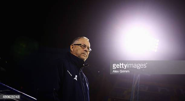 Head coach Lars Lagerback of Iceland looks on prior to the FIFA 2014 World Cup Qualifier playoff second leg match between Croatia and Iceland at...
