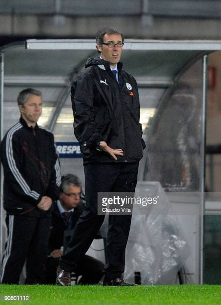 Head coach Laurent Blanc of Bordeaux looks on during the UEFA Champions League Group A match between Juventus FC and FC Girondins de Bordeaux at the...
