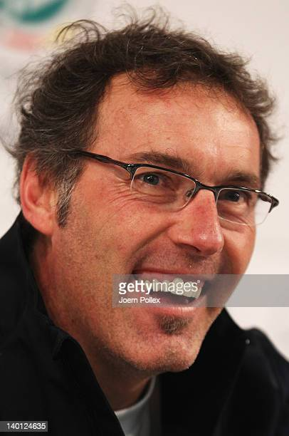 Head coach Laurent Blanc of France attends the press conference of France at Weser stadium on February 28 2012 in Bremen Germany
