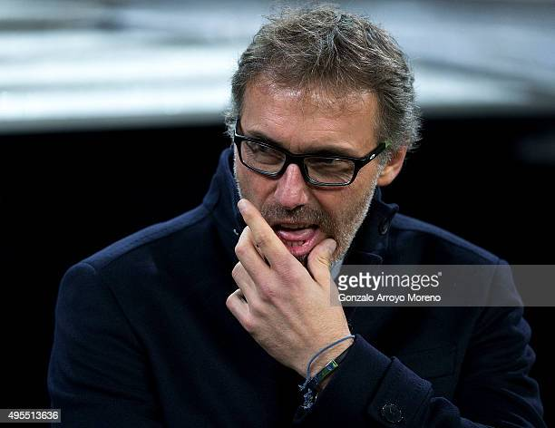 Head coach Laurent Blanc of Paris SaintGermain gestures prior to start the UEFA Champions League Group A match between Real Madrid CF and Paris...