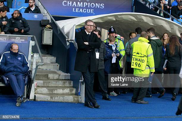 Head coach Laurent Blanc of Paris SaintGermain is disapointed during the UEFA Champions League Quarter Final second leg match between Manchester City...