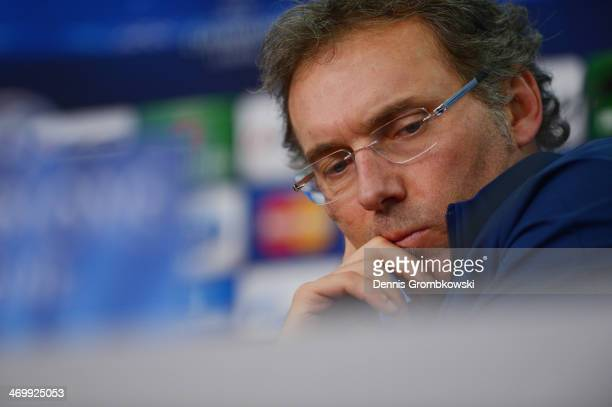 Head coach Laurent Blanc of Paris SaintGermain reacts during a press conference ahead of the UEFA Champions League match between Bayer Leverkusen and...