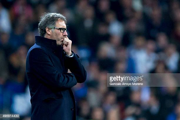 Head coach Laurent Blanc of Paris SaintGermain reacts during the UEFA Champions League Group A match between Real Madrid CF and Paris SaintGermain at...