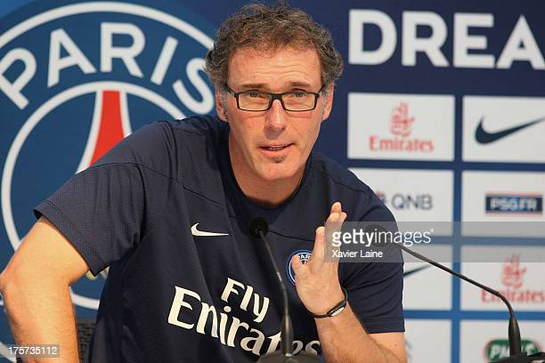Head coach Laurent Blanc of Paris Saint-Germain speaks during a press conference at Clairefontaine training center on August 07, 2013 in...