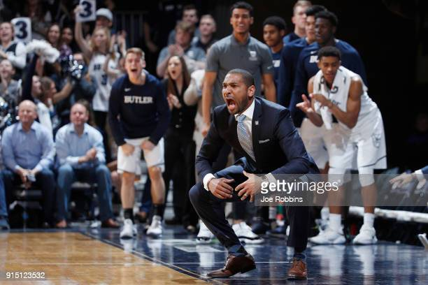 Head coach LaVall Jordan of the Butler Bulldogs reacts in the second half of a game against the Xavier Musketeers at Hinkle Fieldhouse on February 6...
