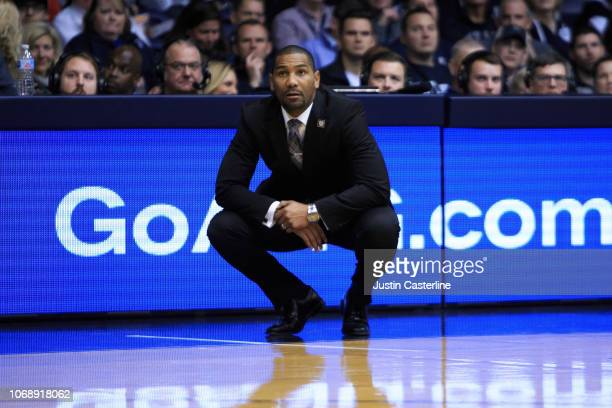 Head coach LaVall Jordan of the Butler Bulldogs watches his team from the sideline in the game against the Brown Bears in the second half at Hinkle...