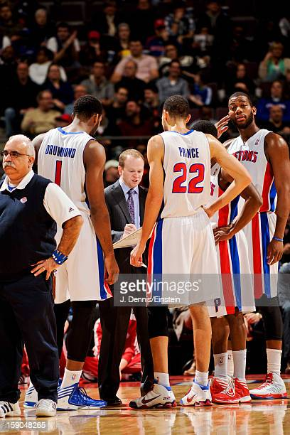 Head Coach Lawrence Frank of the Detroit Pistons draws up plays for his team against the Charlotte Bobcats on January 6 2013 at The Palace of Auburn...