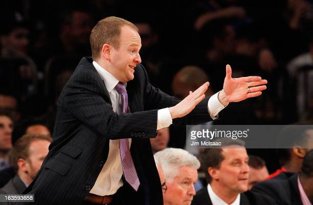 Head coach Lawrence Frank of the Detroit Pistons in action against the New York Knicks at Madison Square Garden on February 4 2013 in New York City...