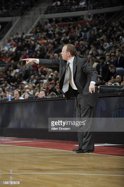 Head Coach Lawrence Frank of the Detroit Pistons points to one of his players against the Miami Heat during the game on December 28 2012 at The...