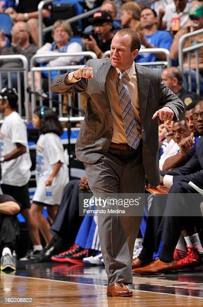 Head Coach Lawrence Frank of the Detroit Pistons reacts during the game between the Detroit Pistons and the Orlando Magic on January 27 2013 at Amway...