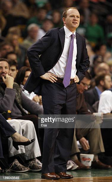 Head coach Lawrence Frank of the Detroit Pistons reacts to a call against one of his players in the first quarter against the Boston Celtics on...
