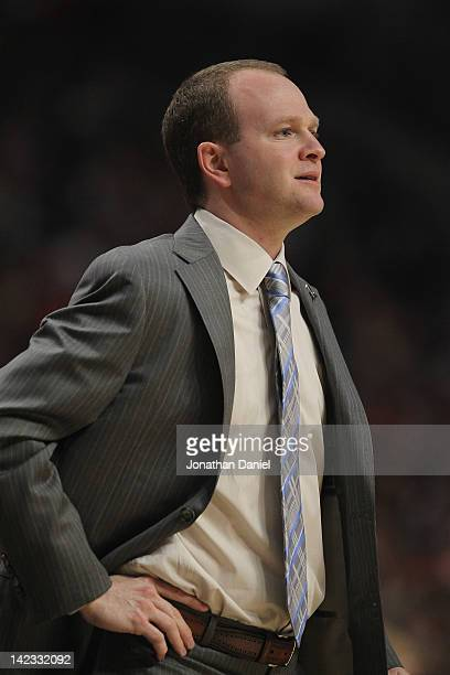 Head coach Lawrence Frank of the Detroit Pistons watches as his team takes on the Chicago Bulls at the United Center on March 30 2012 in Chicago...