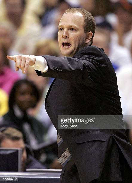 Head coach Lawrence Frank of the New Jersey Nets gives instructions to his team in game six of the Eastern Conference Quarterfinals against the...