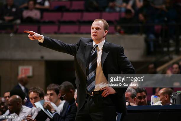 Head coach Lawrence Frank of the New Jersey Nets points during the game against the Los Angeles Clippers on March 30 2005 at the Continental Airlines...