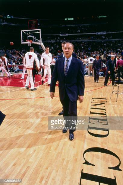 Head Coach Lenny Wilkens of the Atlanta Hawks is seen before the game against the Chicago Bulls on May 8 1997 at the United Center in Chicago IL NOTE...