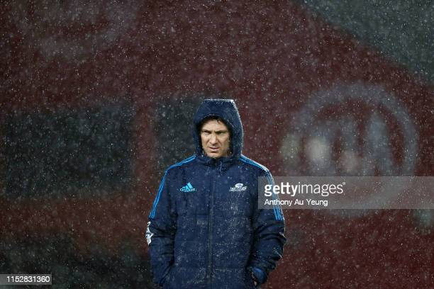 Head Coach Leon MacDonald of the Blues looks on ahead of the round 16 Super Rugby match between the Blues and the Bulls at Eden Park on May 31 2019...