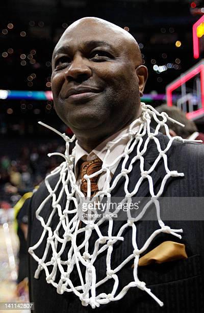 Head coach Leonard Hamilton of the Florida State Seminoles celebrates after they won 8582 against the North Carolina Tar Heels during the Final Game...