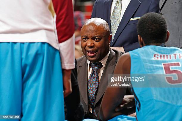Head Coach Leonard Hamilton of the Florida State Seminoles directs the players during a time out against the Massachusetts Minutemen during the...