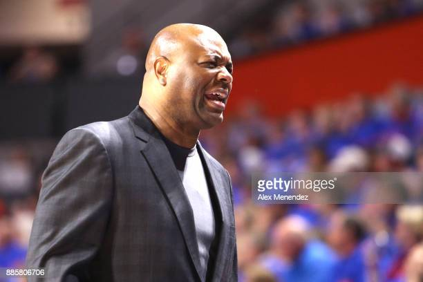 Head coach Leonard Hamilton of the Florida State Seminoles scowls during a NCAA basketball game against the Florida Gators at the Stephen C O'...