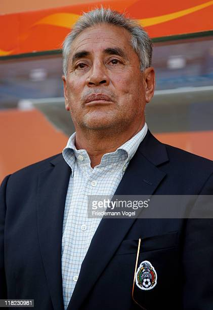 Head coach Leonardo Cuellar of Mexico looks on during the FIFA Women's World Cup 2011 Group B match between New Zealand and Mexico at RheinNeckar...