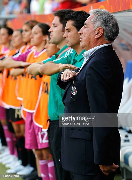 Head coach Leonardo Cuellar of Mexico stands during their National Anthem prior to the FIFA Women's World Cup 2011 Group B match between New Zealand...