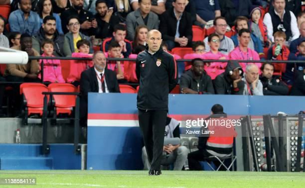 Head coach Leonardo Jardim of AS Monaco reacts during the Ligue 1 match between Paris Saint-Germain and AS Monaco at Parc des Princes on April 21,...