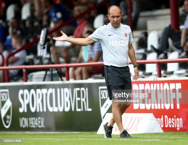 Head coach Leonardo Jardim of Monaco issues instructions during the Pre-Season Friendly match between VfL Bochum and AS Monaco at Sportclub Arena on...