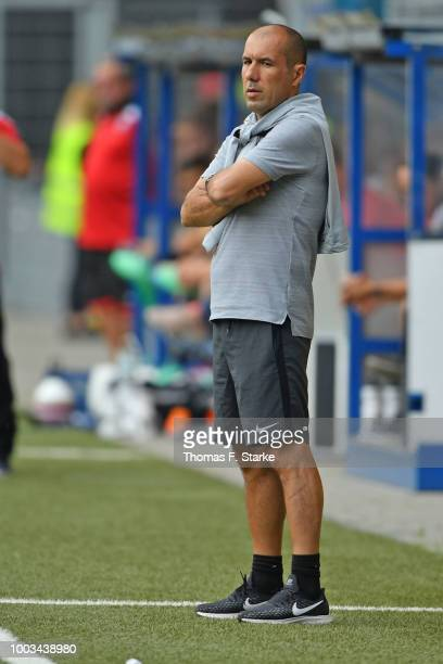 Head coach Leonardo Jardim of Monaco looks on during the friendly match between SC Paderborn and AS Monaco at Benteler Arena on July 21 2018 in...